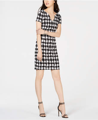 Connected Houndstooth-Print V-Neck Dress