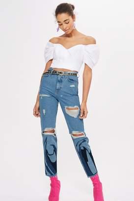 Topshop Flame Applique Mom Jeans