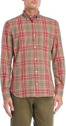 Serge Blanco Faded Plaid Button-Down Pocket Shirt