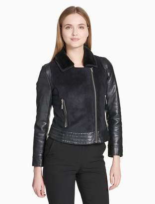 Calvin Klein faux shearling biker jacket