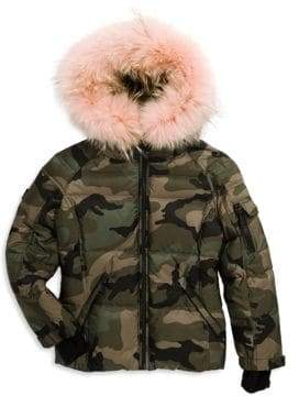 SAM. Boy's Blake Camouflage Coyote Fur-Trim Down Puffer Jacket