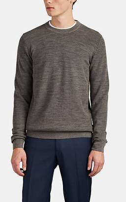 Brioni Men's Honeycomb-Knit Wool Crewneck Sweater - Gray