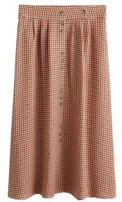 Mango MANGO Checked linen skirt