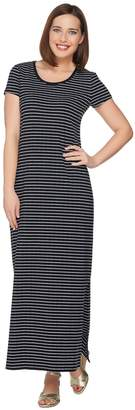 Isaac Mizrahi Live! Petite Striped Short Sleeve Knit Maxi Dress