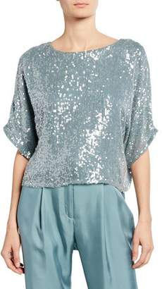 Sally LaPointe Sequined Dolman-Sleeve Tee