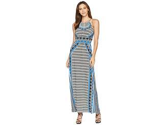 London Times Zigzag Diamond Halter Maxi Dress Women's Dress