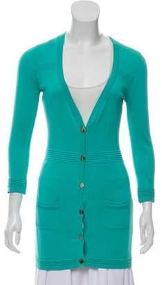 Versace Silk Blend Button Up Cardigan