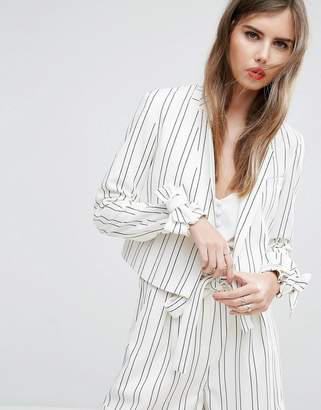 Asos Cropped Striped Bow Cuff Jacket Co-ord