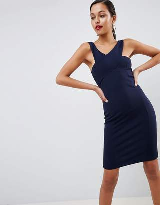Outrageous Fortune cross front detail bodycon dress in navy
