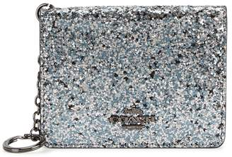 Coach Charcoal Glittered Leather Card Holder