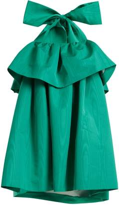 MSGM Detachable-bow tiered faille dress