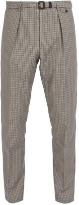 Prada Belted checked wool-blend trousers