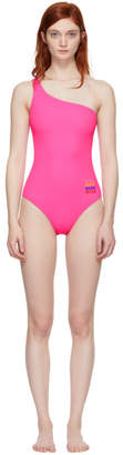 MSGM Pink Small Logo Single-Shoulder Swimsuit