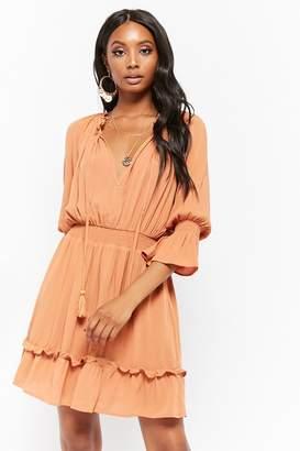 Forever 21 Crinkled Smocked Peasant Dress