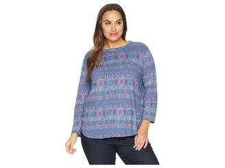 Fresh Produce Extra Fresh by Plus Size Stamped Geo Catalina Top
