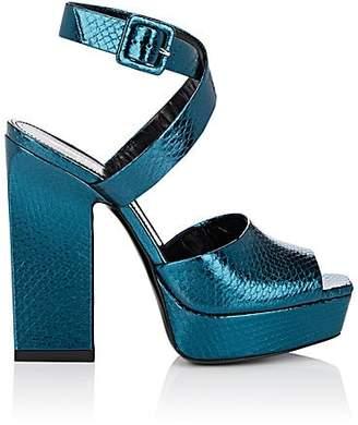 Saint Laurent Women's Debbie Leather Platform Sandals - Green
