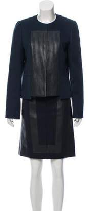 Akris Leather-Trimmed Cashmere Skirt Suit Green Leather-Trimmed Cashmere Skirt Suit