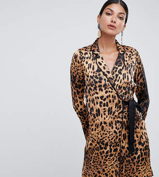 Missguided Tall tux dress with tie side in leopard satin