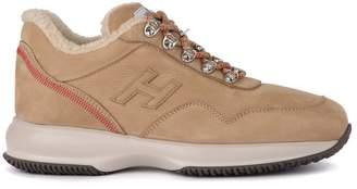 Hogan Interactive Brown Nabuk And Sheepskin Sneaker