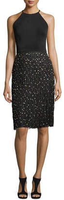 Badgley Mischka Sleeveless Halter Cocktail Dress w/ Fringe Beaded Skirt