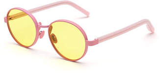 RetroSuperFuture Super by Matte Round Sunglasses, Yellow/Pink