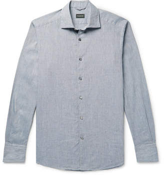 Ermenegildo Zegna Puppytooth Cotton Shirt - Men - Blue