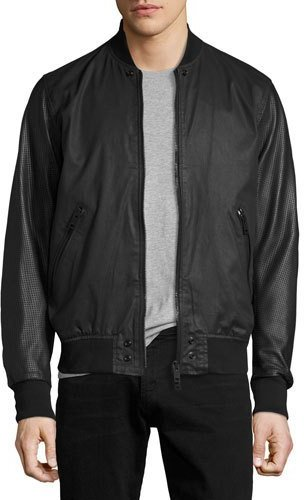 Diesel Diesel Coated Bomber Jacket with Perforated Leather Sleeves, Black