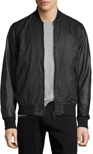 DieselDiesel Coated Bomber Jacket with Perforated Leather Sleeves, Black