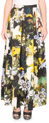 Erdem Elena Garden-Print Full A-Line Ankle-Length Skirt