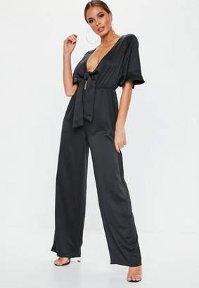Missguided Black Satin Kimono Romper