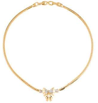 Nina Ricci Crystal Bow Pendant Necklace