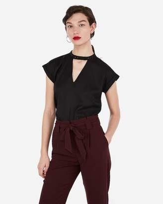 Express Satin Studded Choker Neck Gramercy Tee