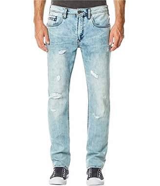 Buffalo David Bitton Men's Ash-x Slim Fit Distressed Light Blue Wash Denim Pant