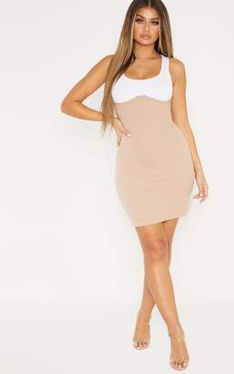 PrettyLittleThing Black Cup Detail Contrast Ribbed Bodycon Dress