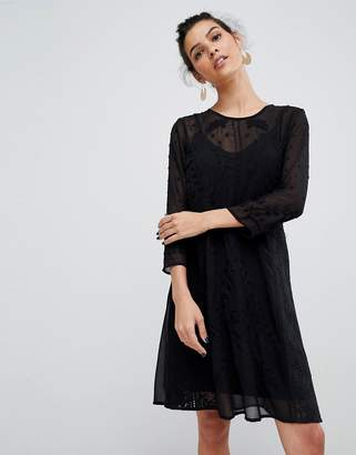Y.A.S embroidered lace mini dress in black