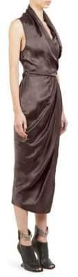 Rick Owens Limo Cupro Wrap Dress