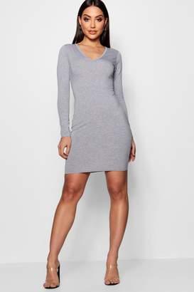 boohoo V Neck Long Sleeve Bodycon Dress