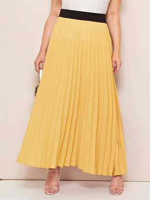 Shein Plus Contrast Wide Waistband Pleated Maxi Skirt