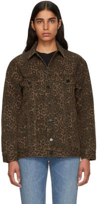 Alexander Wang Tan Leopard Daze Denim Jacket