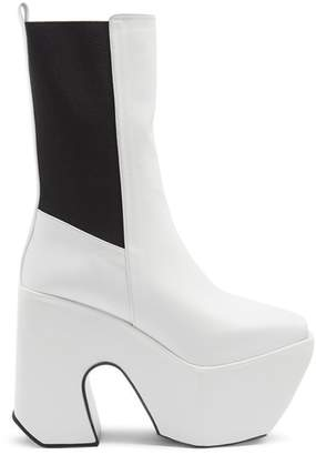 Marques'almeida - Open Toe Leather Platform Boots - Womens - White