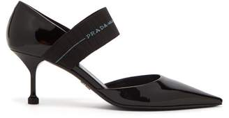 Prada Logo Strap Patent Leather Pumps - Womens - Black