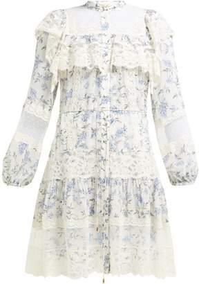 Zimmermann Moncur Floral Print Lace Trim Dress - Womens - White