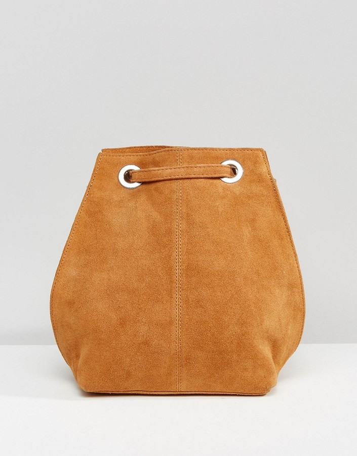 ASOS COLLECTION ASOS Suede Backpack With Eyelet Detail