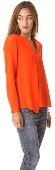 Tibi Split Neck Long Sleeve Blouse