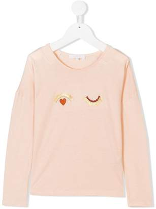 Chloé Kids eyes embroidered long sleeve top