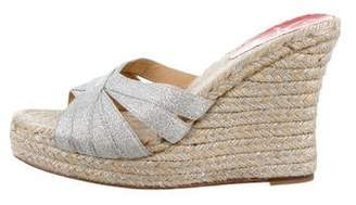 Christian Louboutin Metallic Espadrille Wedges