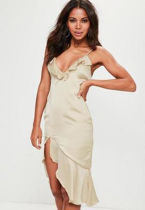 Missguided Nude Strappy Frill Detail Drop Hem Midi Dress