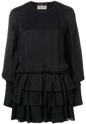 Saint Laurent long-sleeved ruffle dress