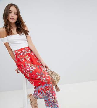 Miss Selfridge printed crop wide leg trouser