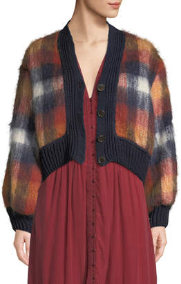 Sea Maryam Button-Front Plaid Mohair-Blend Combo Cardigan